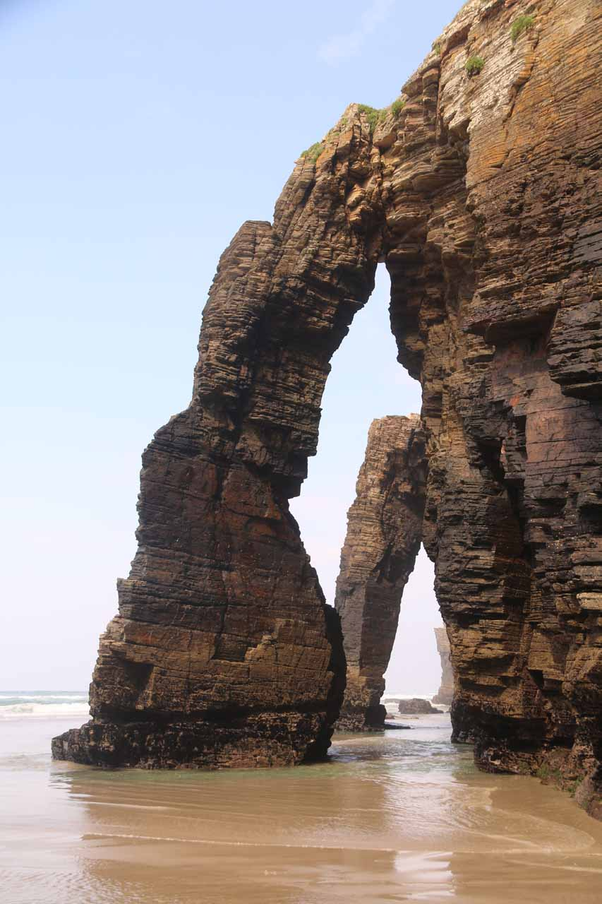 Looking out at two of the three arches of Praia As Catedrais