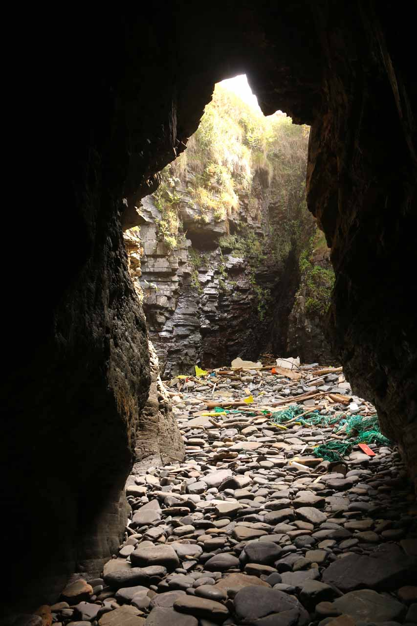 At one end of one of the longer arches at Praia As Catedrais, and I could see that some people littered or intentionally left stuff behind