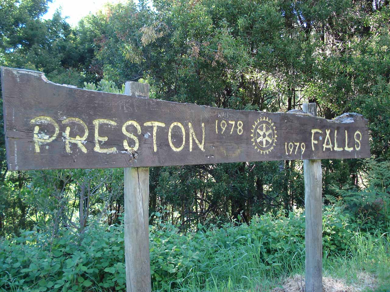This wooden sign was there on our first visit back in late November 2006. It was still known as Preston Falls back then.  Now, the wooden sign was gone, but a more modern one was in its place and still had the same name (in December 2017)