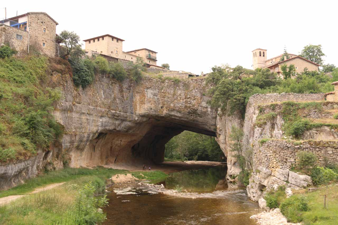 View from the road bridge looking right at the natural bridge at Puentedey and the village built right on top of it