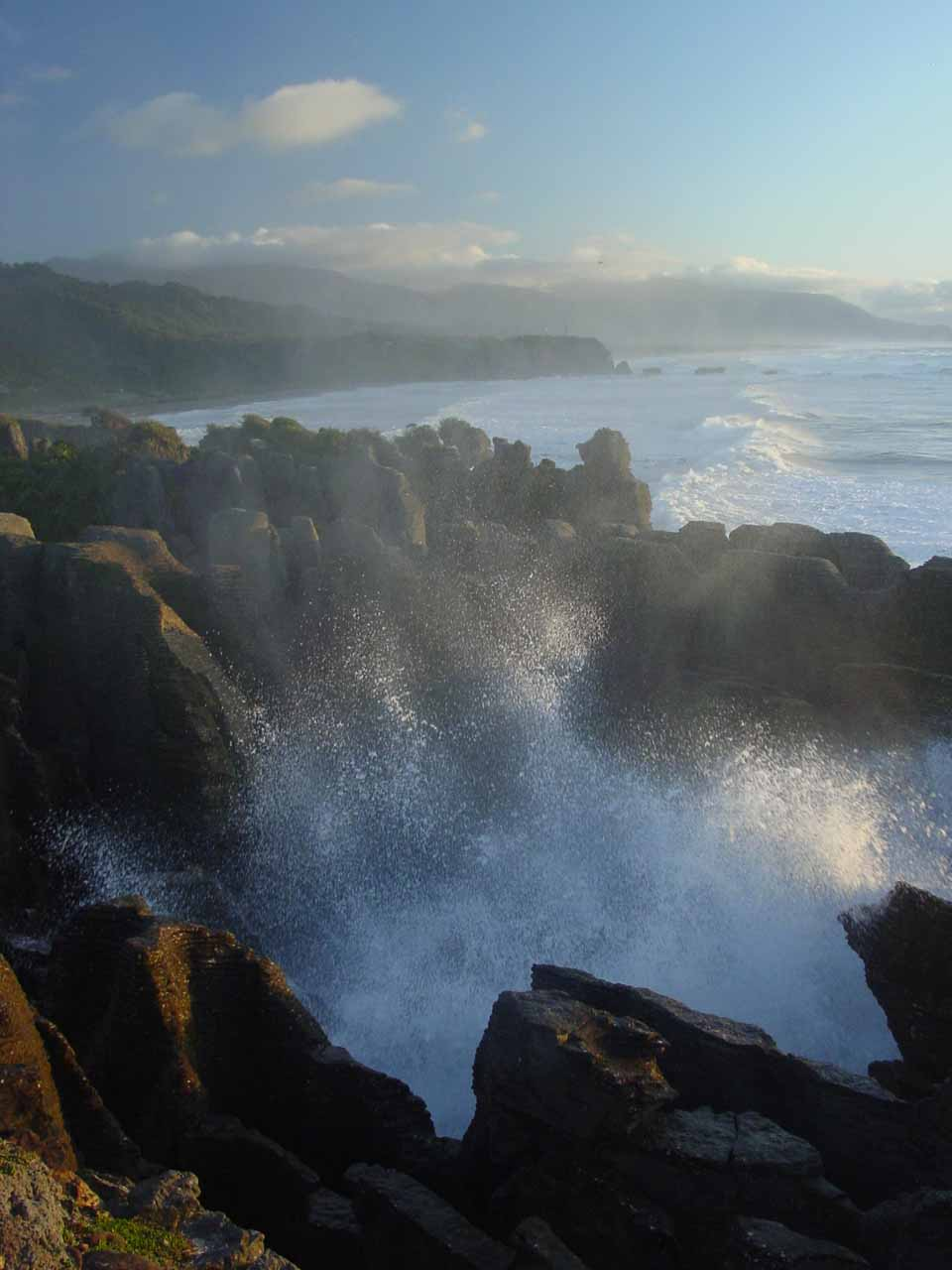 The Pancake Rocks and Putai Blowhole at Punakaiki was where we managed to catch a surreal (and bitterly cold) sunset on the day we visited Five Mile Creek Falls back in 2004