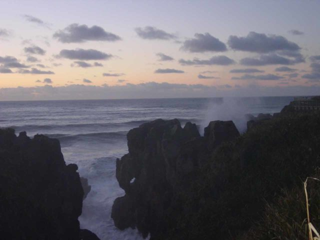 Punakaiki_086_11212004 - On our initial trip to New Zealand in 2004, Julie and I managed to stay at the Pancake Rocks in bitterly cold temperatures in time to catch the sunset and all the changing colours thereafter