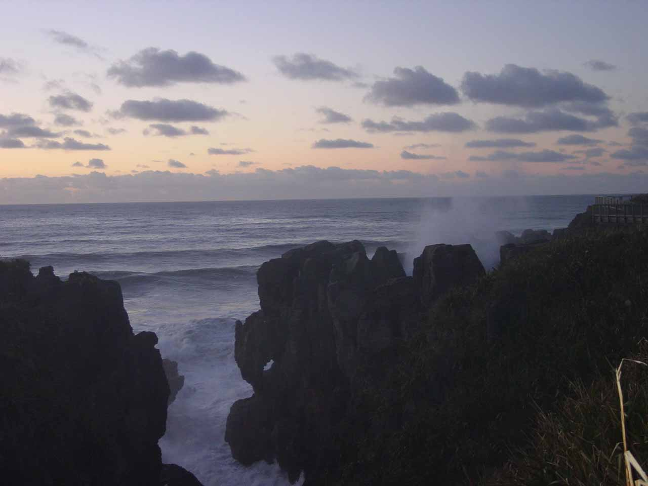 On our initial trip to New Zealand in 2004, Julie and I managed to stay at the Pancake Rocks in bitterly cold temperatures in time to catch the sunset and all the changing colors thereafter