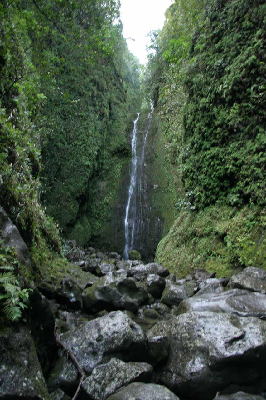 View of boulders fronting Punalau Falls