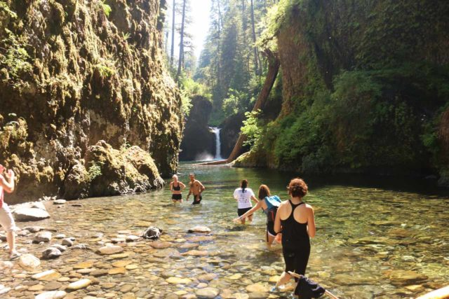 Punch_Bowl_Falls_17_118_08182017 - Context of the Punch Bowl Falls as some people swam their way back from the secluded cove while others looked to go in the other direction into the deeper waters of Eagle Creek