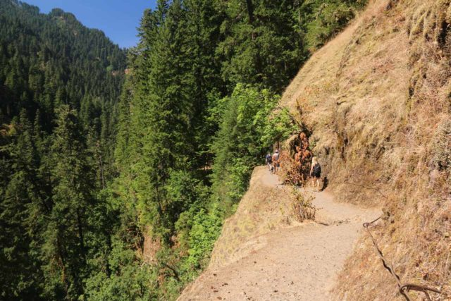 Punch_Bowl_Falls_17_145_08182017 - With the Eagle Creek Fire in September 2017, without vegetation to stabilize the soil, ledges like these on the Eagle Creek Trail are now too risky to safely allow public access