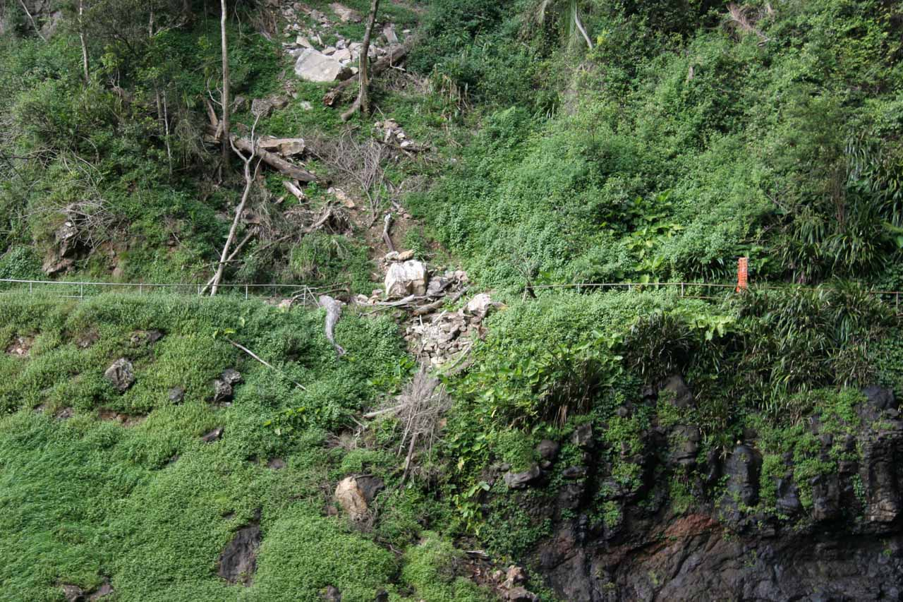 Landslide responsible for the trail closure