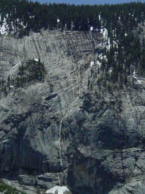Pywiack_Cascade_009_06042004 - Looking towards an ephemeral cascade as we skirted the head of Tenaya Canyon