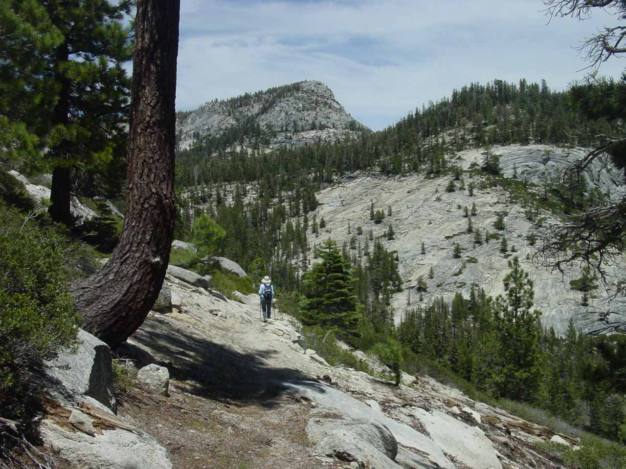Mom headed back to the trailhead amidst the granite wilderness