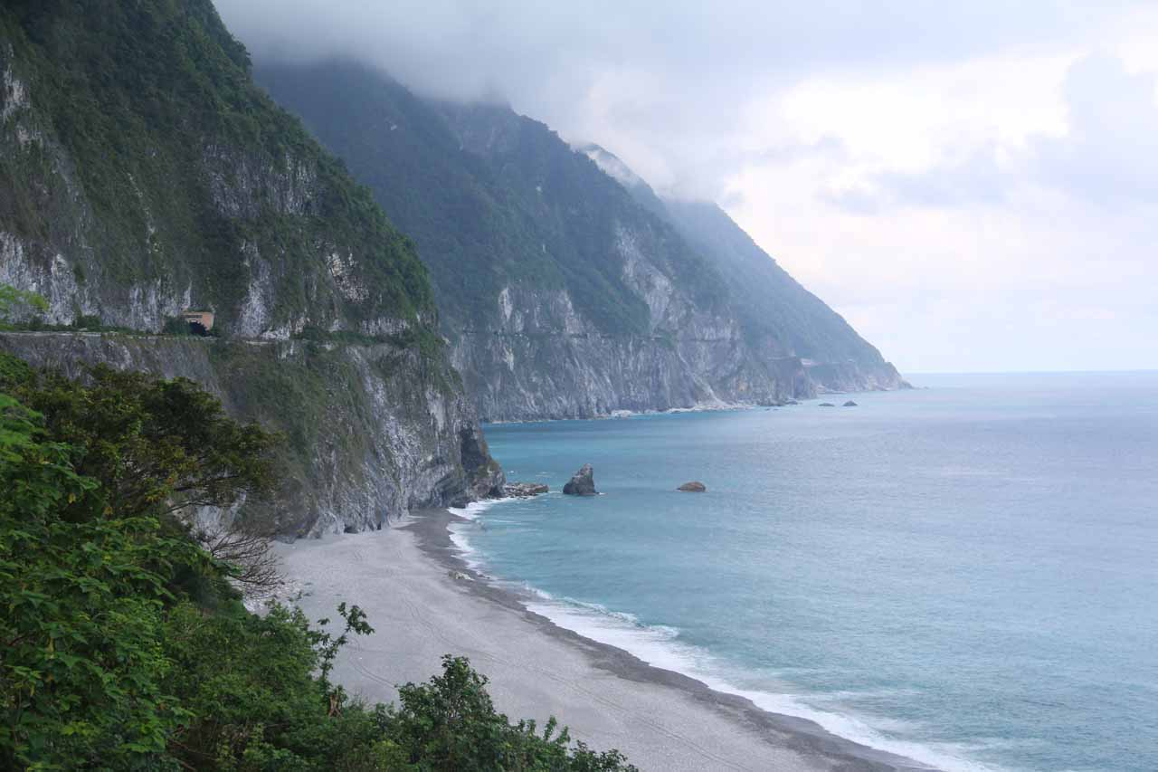 Further to the northeast of the mouth of the Taroko Gorge was a lookout of the Qingshui Cliffs though as you can see here, the clouds blocked out the sun's ability to really put color in the water
