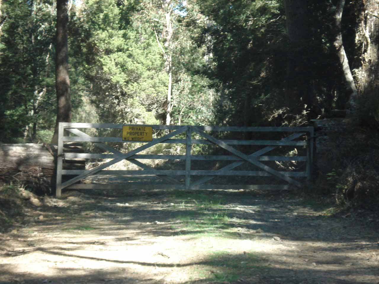 A fenced off private property access by Quailes Falls Track