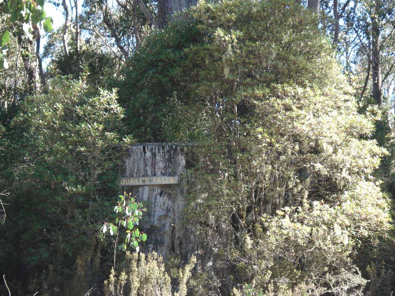A sign for Quailes Falls