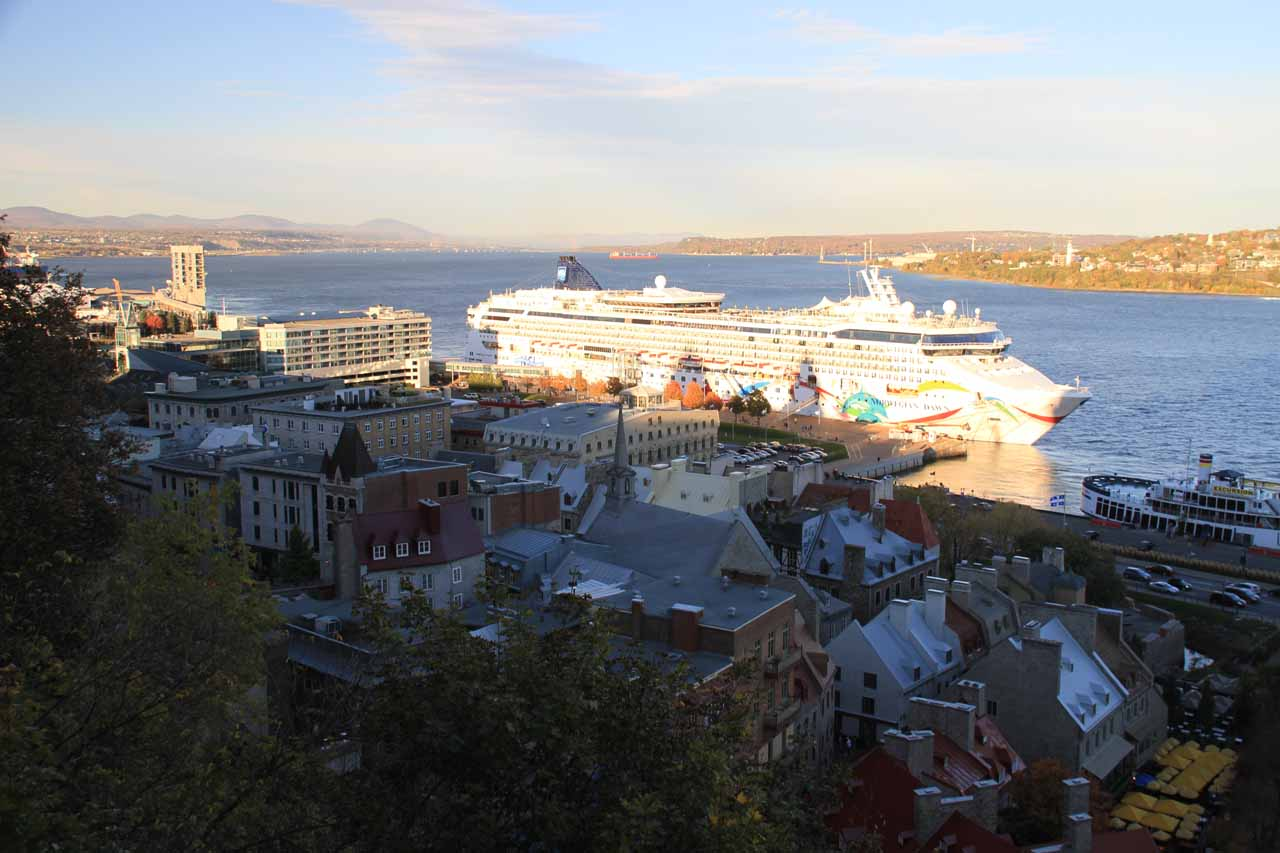A cruise ship dominating the lower Old Quebec City