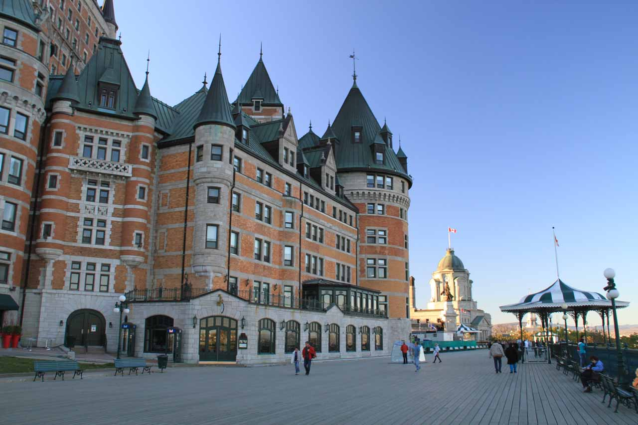 Chateau Frontenac dominating the Governor's Boardwalk