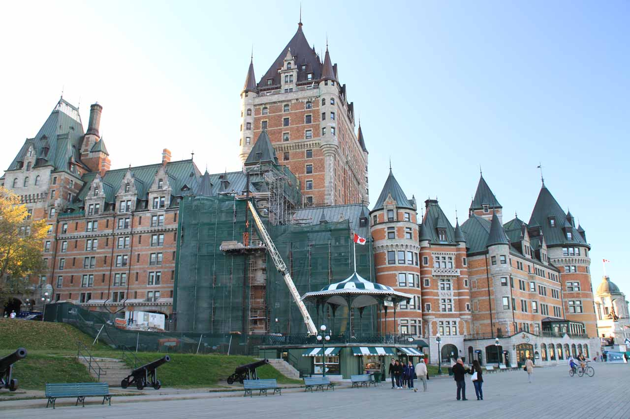 Chateau Frontenac with a large part of it under construction