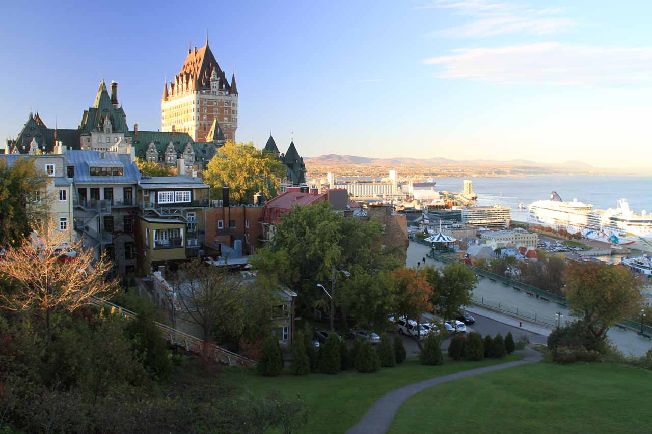 During a US government shutdown-affected trip in Fall of 2013, we opted to not force staying in Acadia National Park and spend more time in Portland, ME and Quebec City (shown here), Canada instead. Unfortunately, we wound up eating the double-booking costs because the proprietor wouldn't refund our money