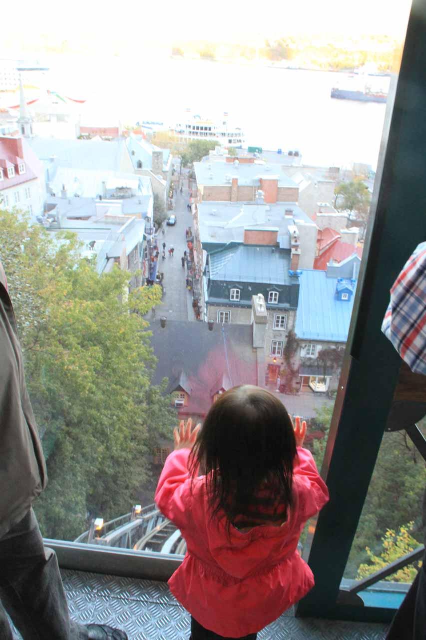 Tahia enjoying the funicular ride