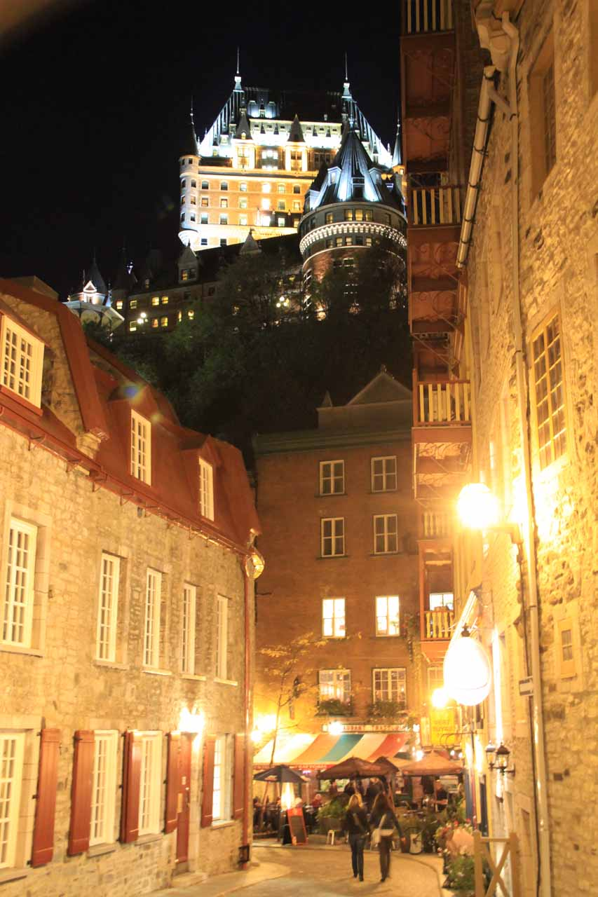 Looking up at the Chateau Frontenac from the Lower Old City of Quebec