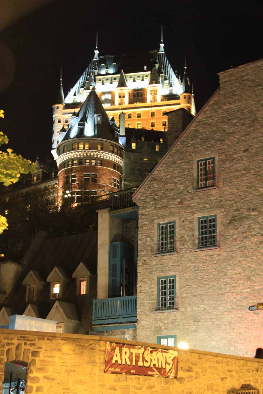 Looking up towards the Chateau Frontenac from the Lower Old City of Quebec