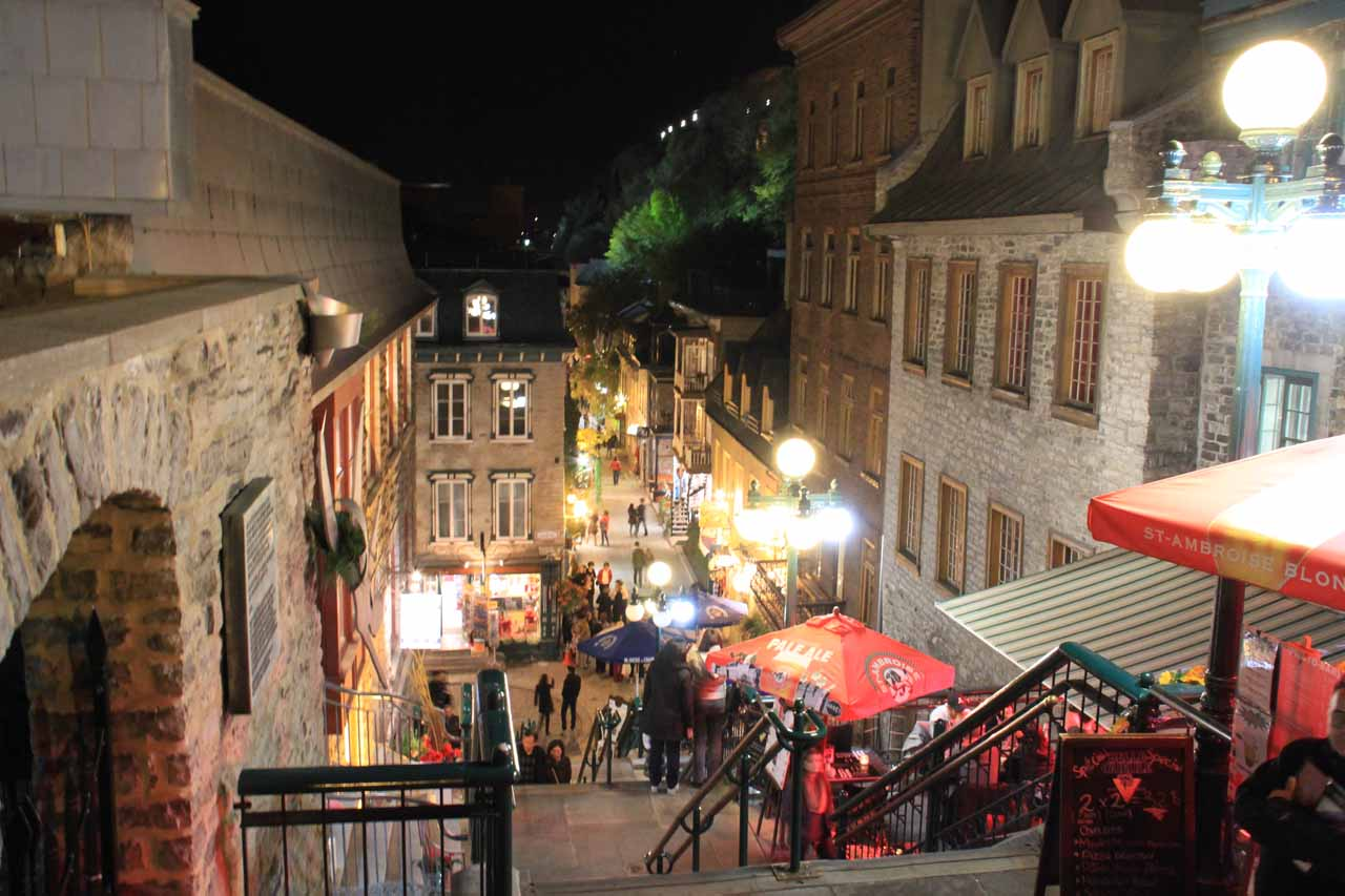 Pretty lit up and happening in the Lower Old City of Quebec
