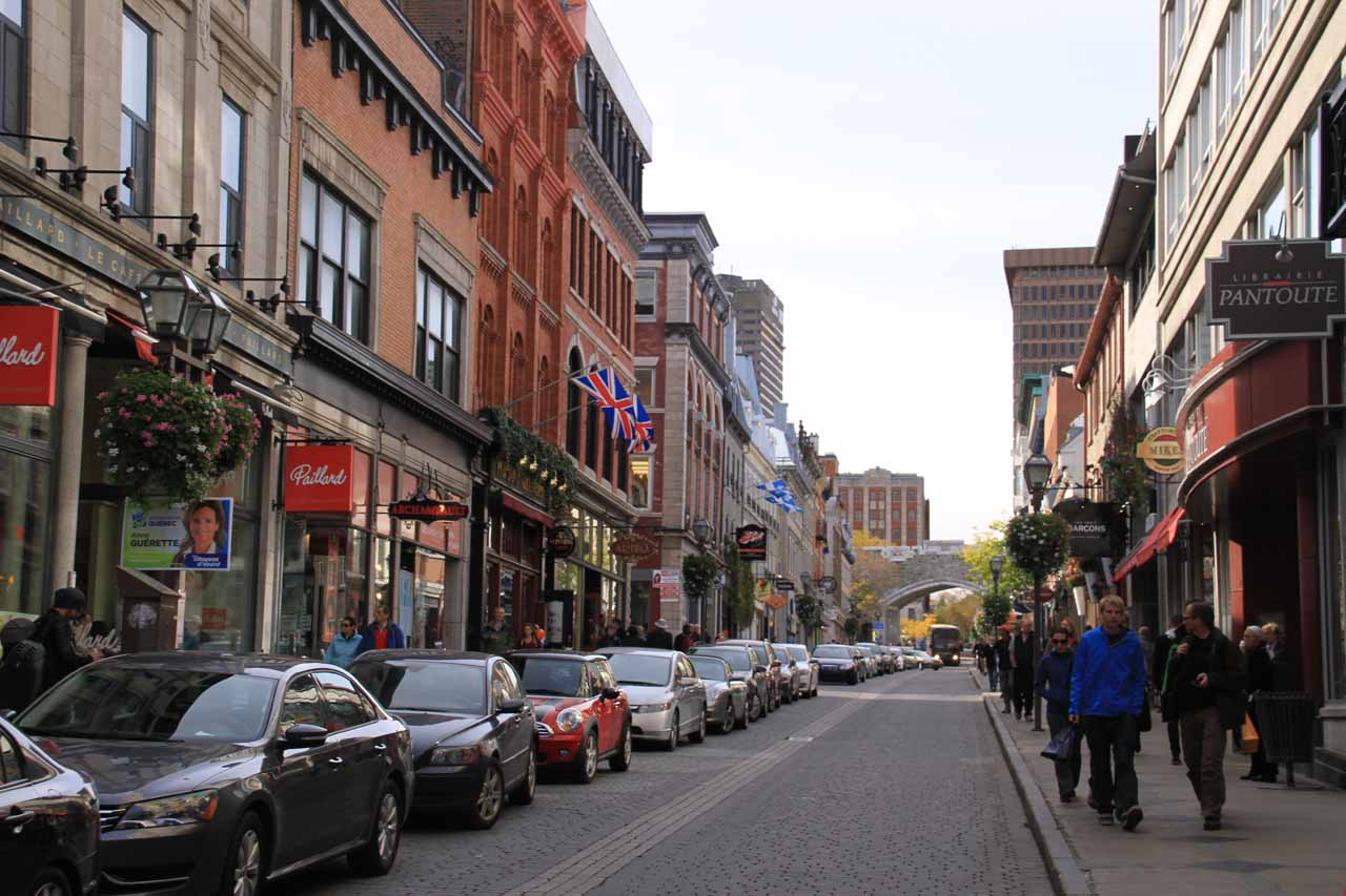 Walking along Rue St-Jean, but during daylight hours this time