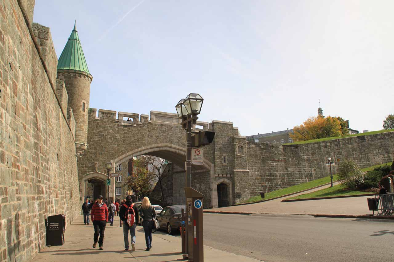 Looking back at the city walls of Old Quebec
