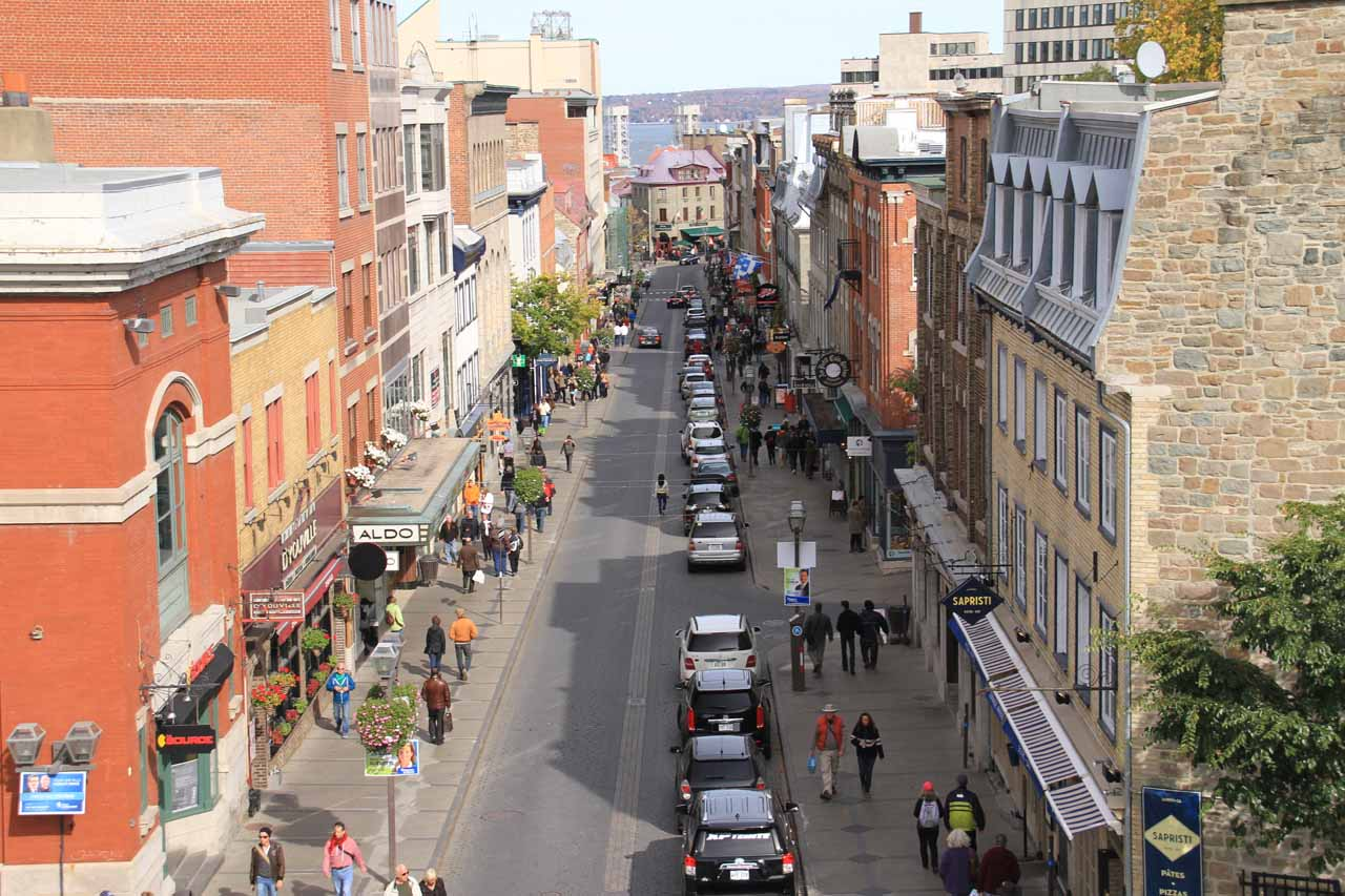 Looking down at the happening Rue St-Jean from atop the city walls
