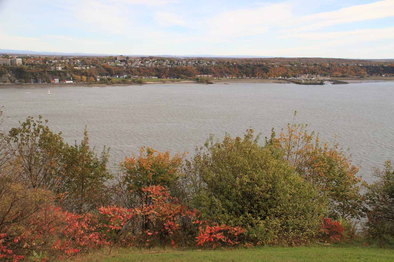 View of the wide St Lawrence River from the Governor's Walk near the Citadel
