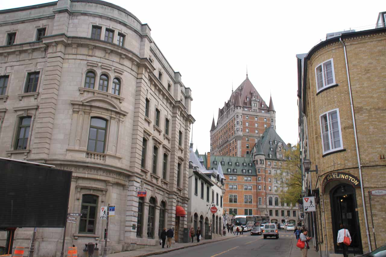 Cheateau Frontenac framed by some charming streets in Old Quebec