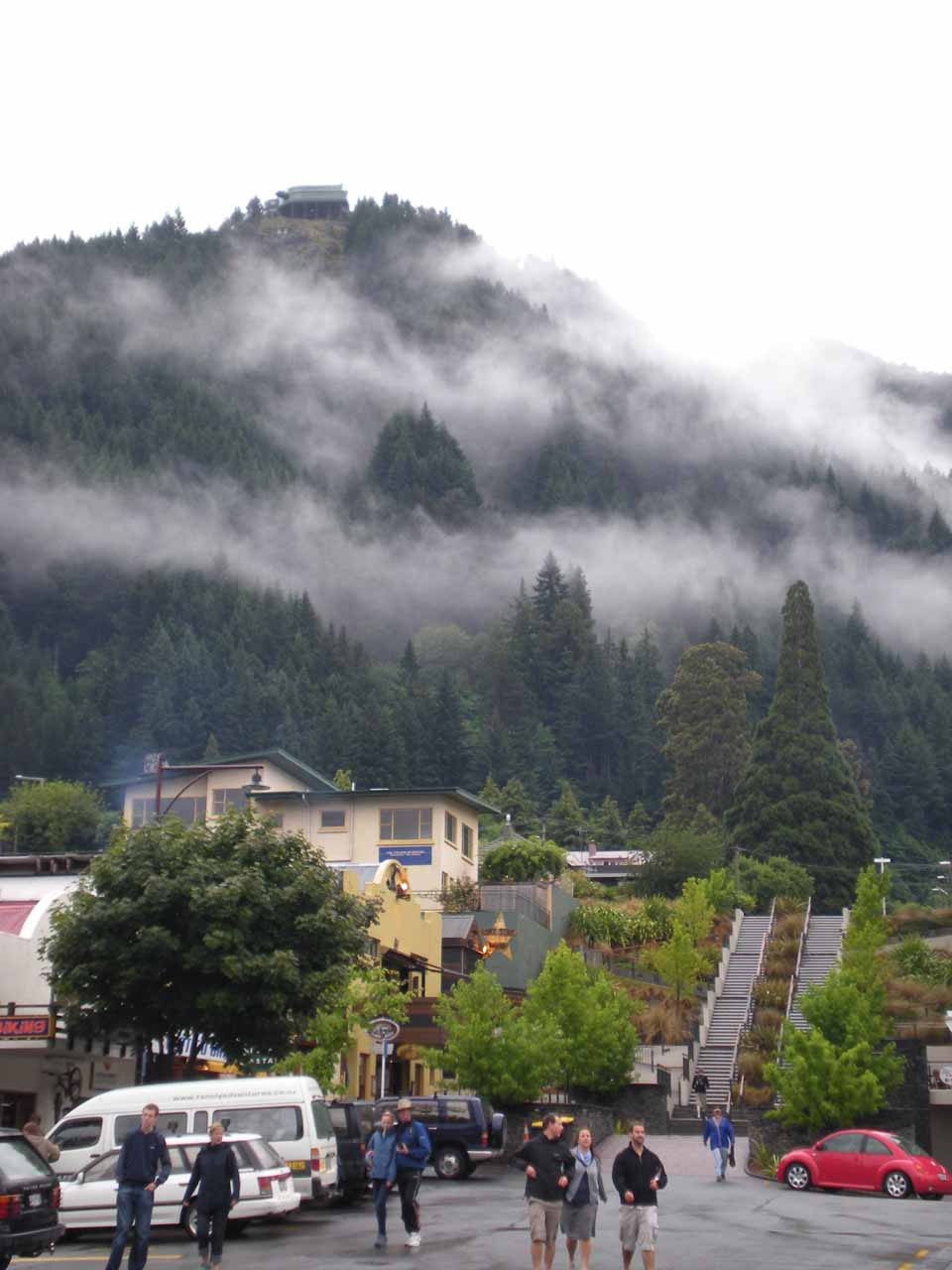 Both times that Julie and I have made the drive through the Haast River Valley and Fantail Falls, we either stopped or started at Queenstown, and both times it rained a lot in town