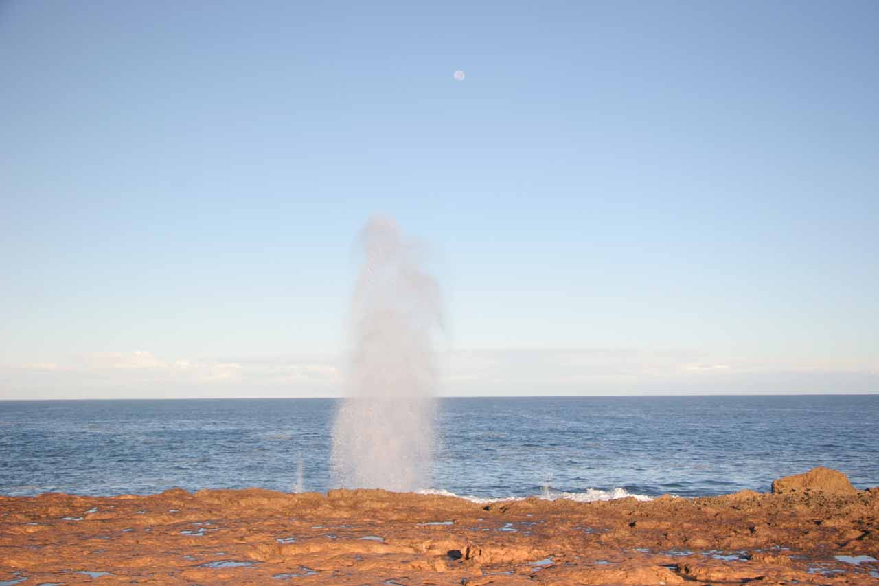 Approaching the Quobba Blowhole and the moon beyond it
