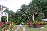 RLS_Museum_055_11172019 - Julie walking towards the start of the trail leaving from the front of Villa Valima and towards the Botanical Gardens