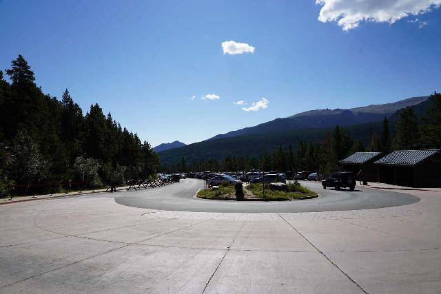 RMNP_112_07272020 - Looking back at the parking lot at Bear Lake, where rangers stood at the entrance of this lot to turn away private vehicles while also preventing drop-offs
