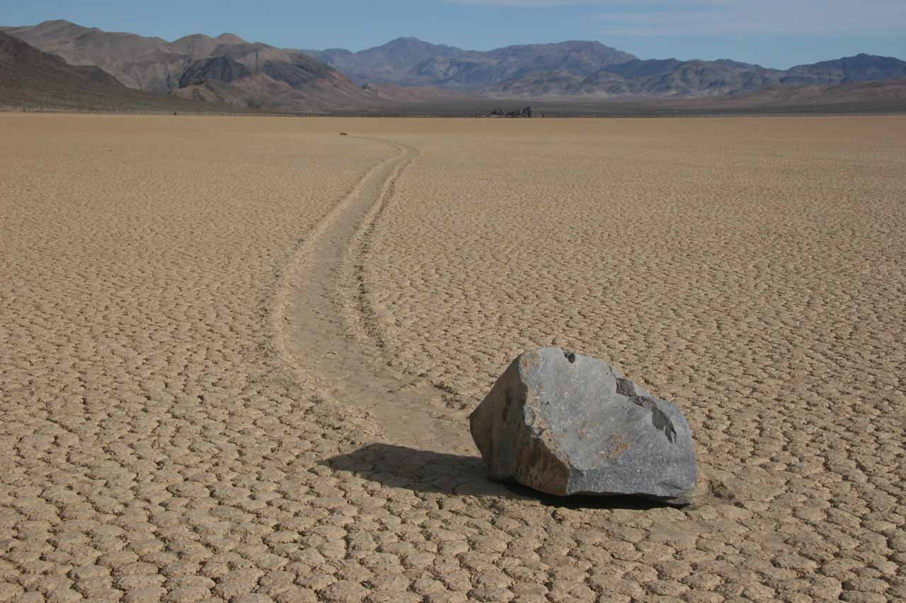 One of the rocks leaving mysterious streaks on the Racetrack Playa