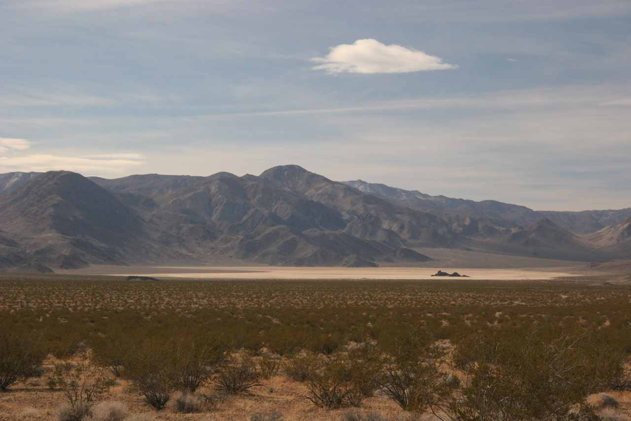 Distant look at the Racetrack Playa and the Grandstand