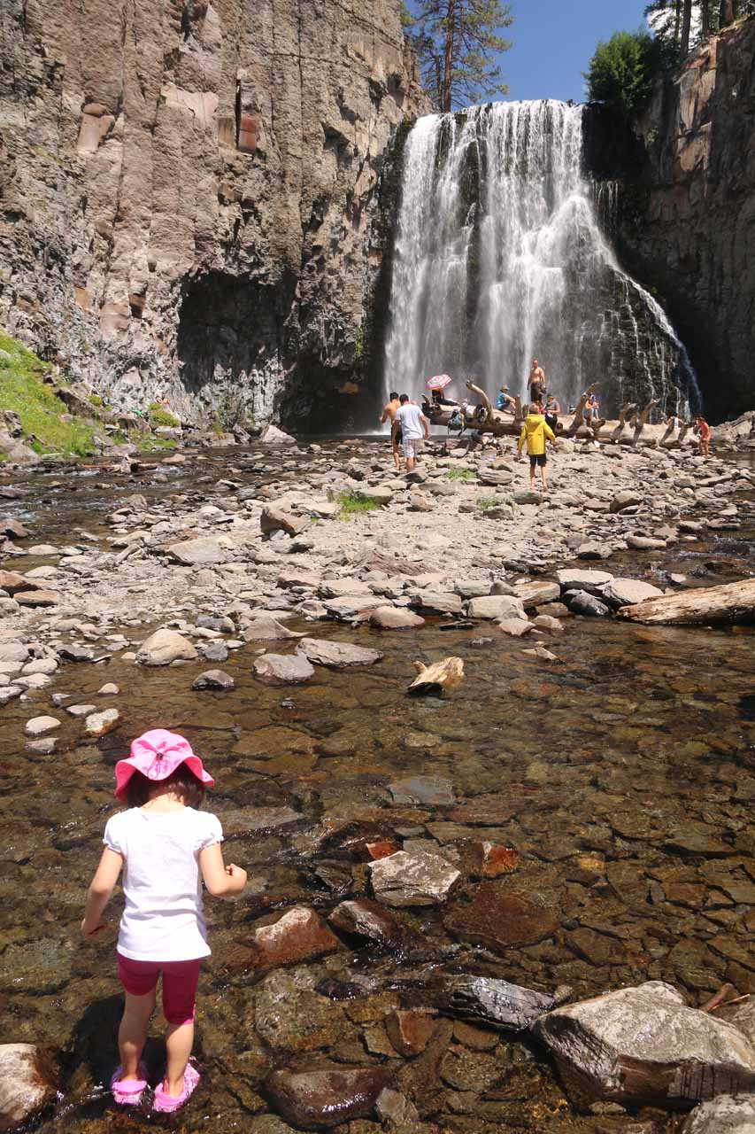 Tahia playing in the shallow parts of the San Joaquin River in front of Rainbow Falls