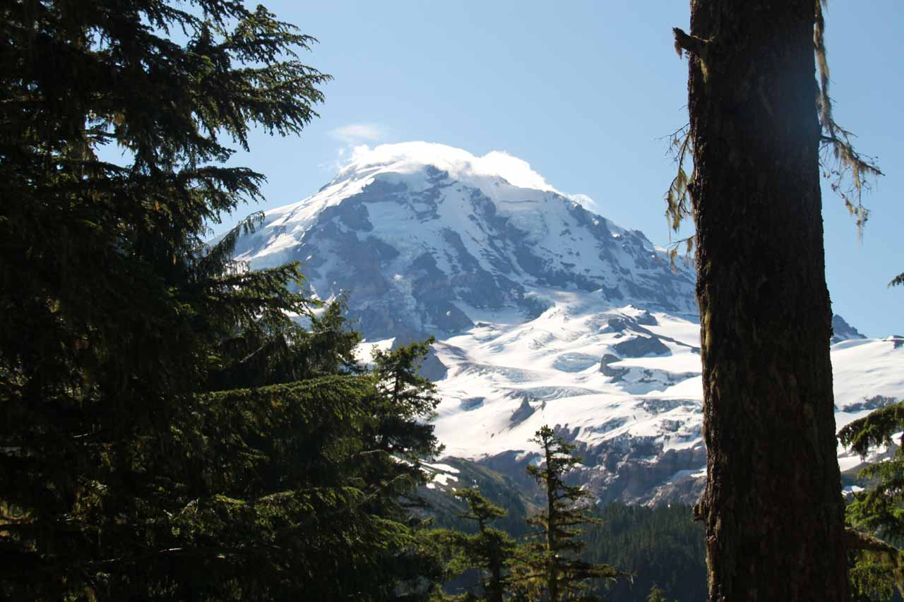 Partial morning view of Mt Rainier near the Eagle Cliff Viewpoint