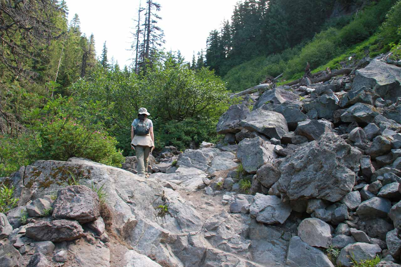 Traversing through another boulder field on the last of the big ascents