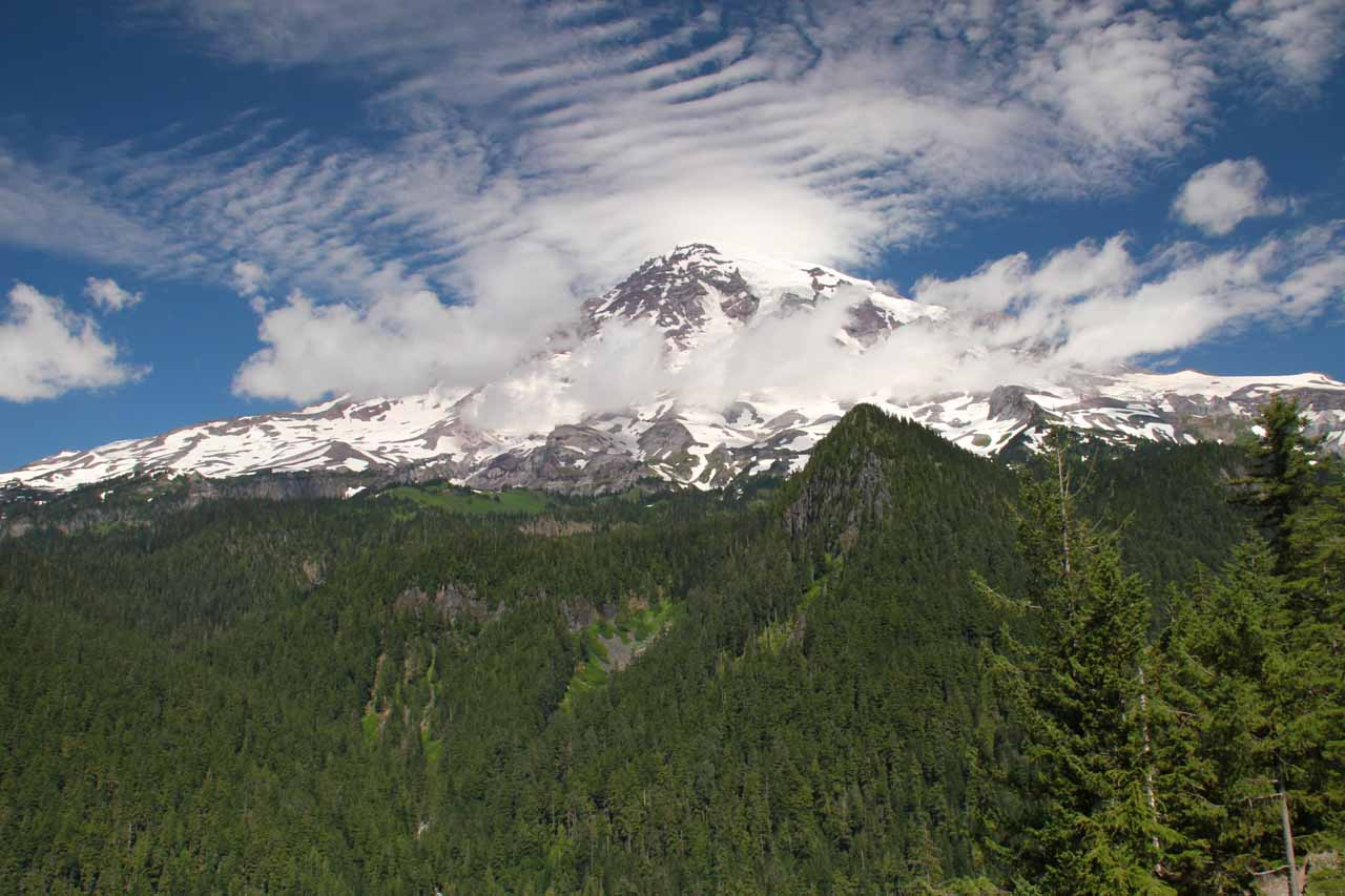 Just after visiting Comet Falls nearby, we got this view of Mt Rainier starting to show its peak shortly before we visited Narada Falls