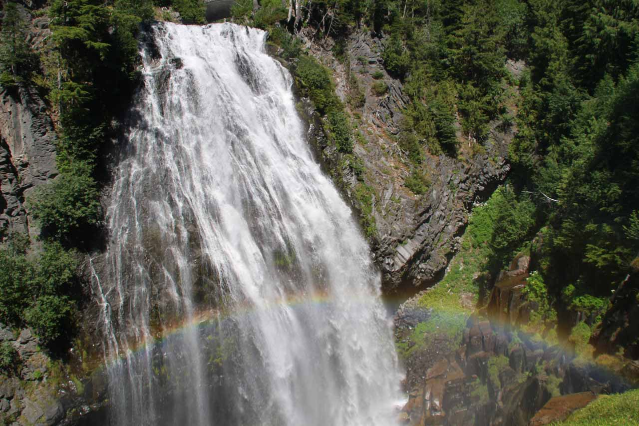 Landscape orientation of this photo of Narada Falls so I can show the whole rainbow