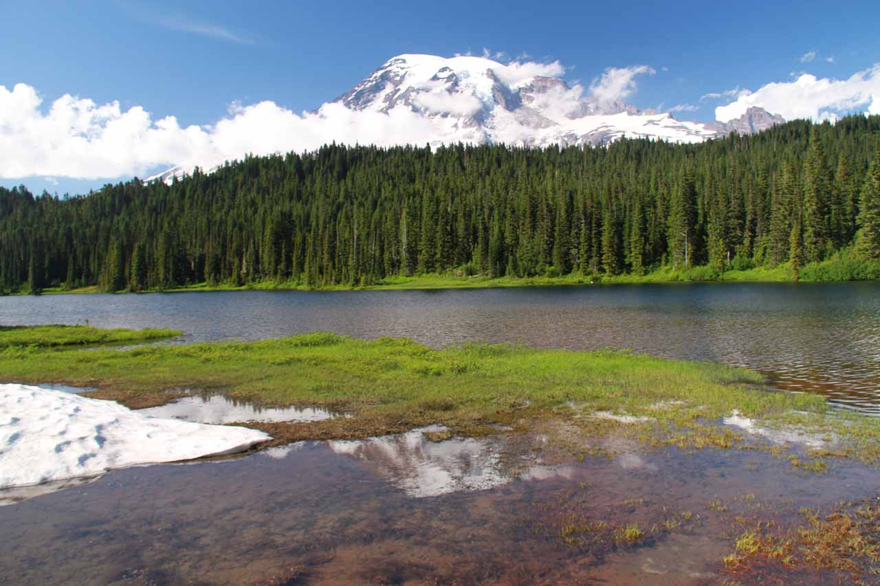 Mt Rainier partially reflected in one of the Reflection Lakes