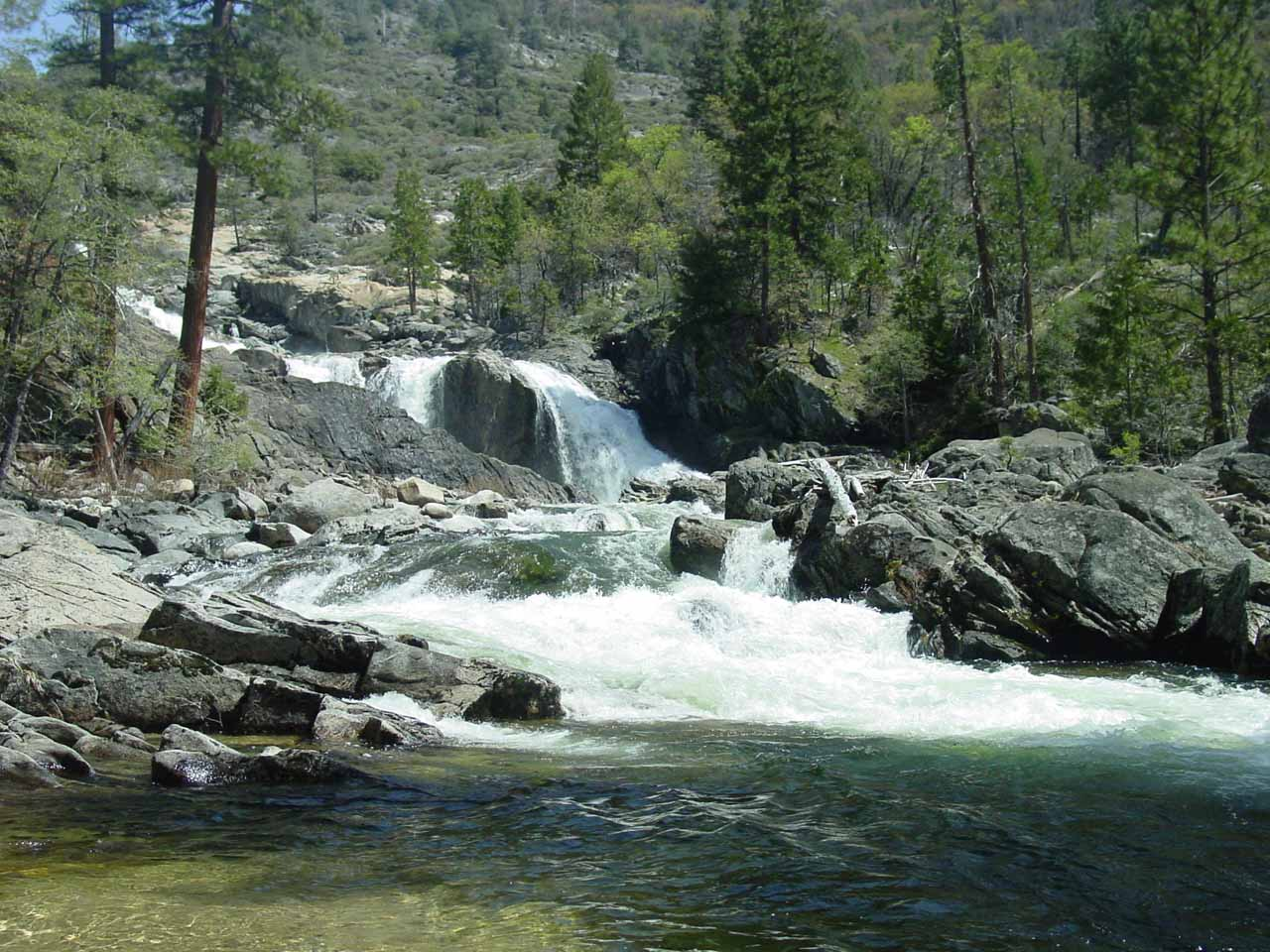 We went a little further downstream from the second cascade of Rancheria Falls where it looked like some spots might be calm enough for a cold dip