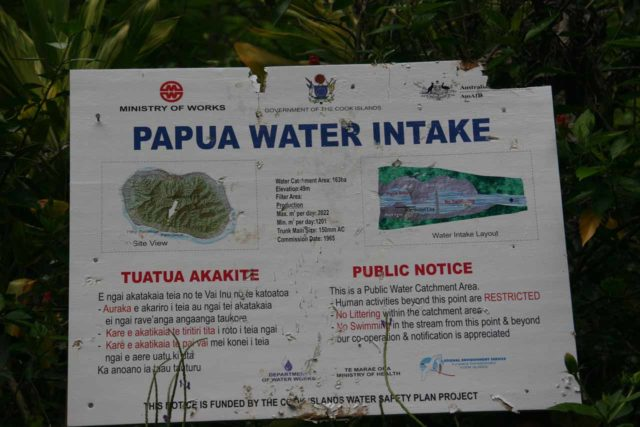 Rarotonga_028_01112010 - Sign talking about the Papua Intake, which might have an effect on the longevity of the Papua Waterfall