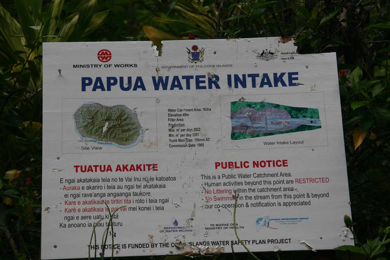 Sign about the Papua Water Intake