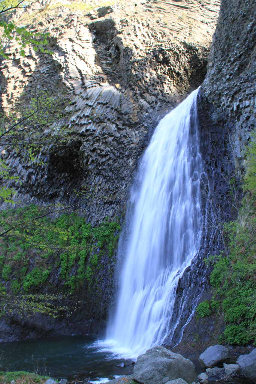 This is a look at the Cascade du Ray-Pic surrounded by twisted basalt cliffs as seen from the forbidden base