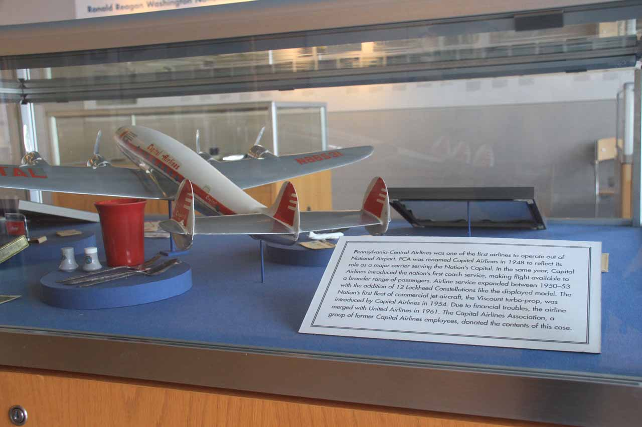 A model of an early airplane in the Heritage Hall of Reagan Airport