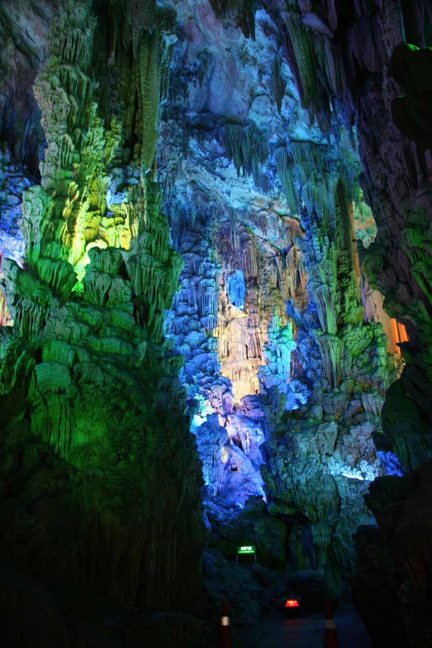 Colorful lighting as we were walking about the Reed Flute Cave
