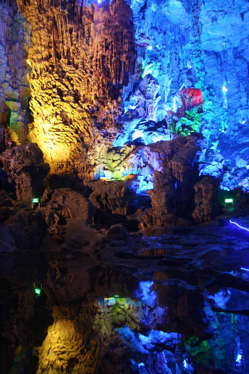 More cool lighting and some reflections in Reed Flute Cave