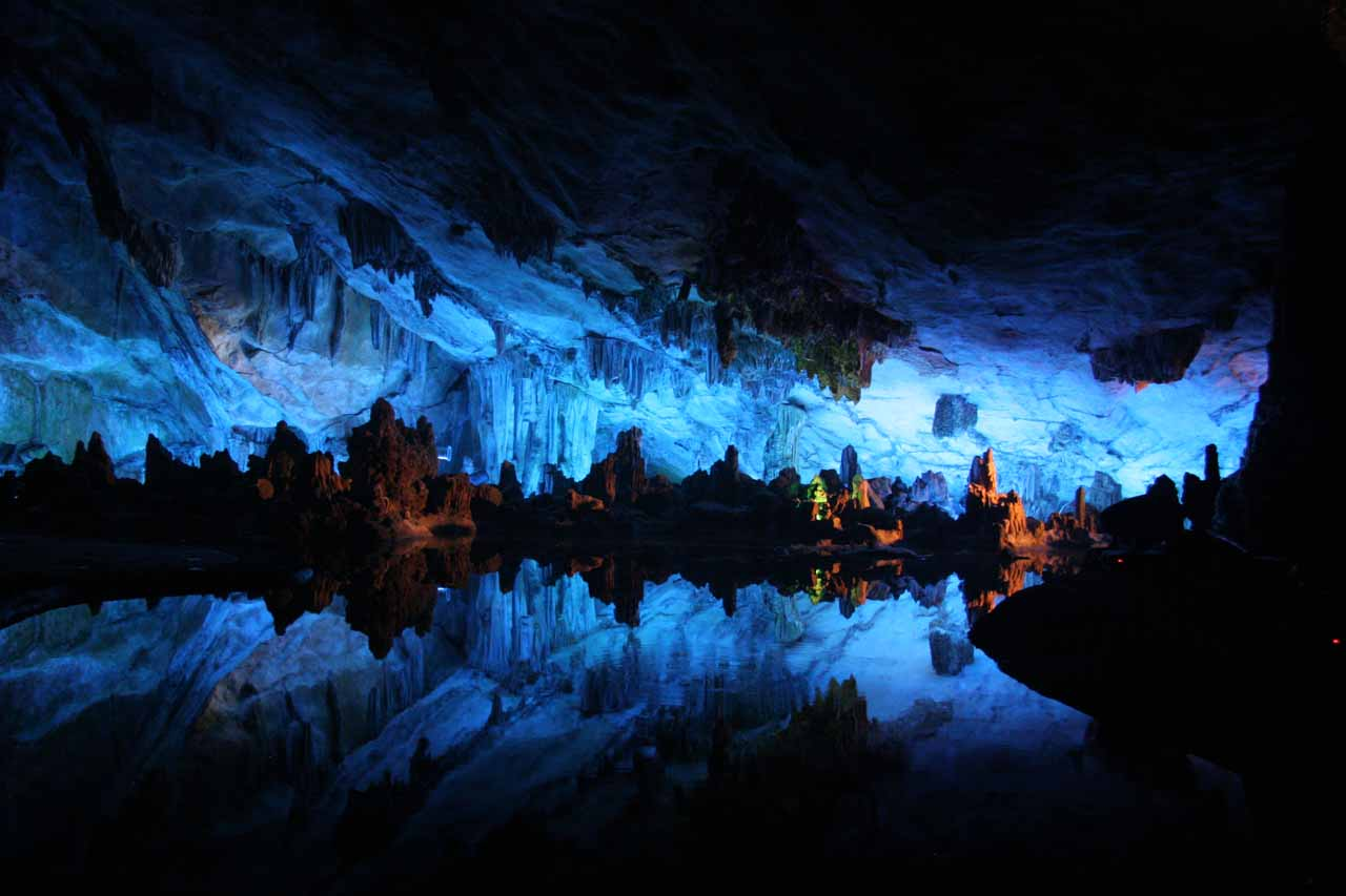 Not far from a waterfall in Guilin, China was the Reed Flute Cave where we were dazzled by its spacious and moody interior