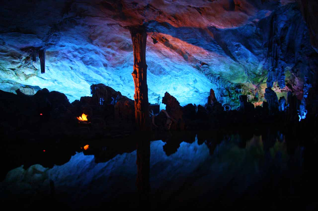 Closer to the city of Guilin than the Crown Cave, we visited another interesting cave called the Reed Flute Cave, which featured one of the most beautiful chambers we'd ever seen in a cave